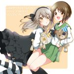2girls :d :o artist_name bandage bangs black_legwear black_neckwear black_skirt blouse boko_(girls_und_panzer) brown_eyes brown_hair casual character_name commentary dated from_side girls_und_panzer green_skirt happy_birthday hat high-waist_skirt highres holding holding_stuffed_animal layered_skirt leg_up light_blush light_brown_hair long_hair long_sleeves looking_at_viewer medium_skirt miniskirt multiple_girls neckerchief nishizumi_miho ooarai_school_uniform open_mouth outside_border parda_siko party_hat pleated_skirt rounded_corners school_uniform serafuku shimada_arisu shirt short_hair side_ponytail skirt smile socks standing standing_on_one_leg striped striped_legwear stuffed_animal stuffed_toy suspender_skirt suspenders teddy_bear thigh-highs white_blouse white_shirt yellow_background