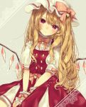 1girl :< adapted_costume alternate_hair_length alternate_hairstyle blonde_hair blush bow bowtie center_frills closed_mouth commentary_request crystal flandre_scarlet frilled_shirt frills grey_background hat hat_bow head_tilt heart highres long_hair mob_cap pink_bow pink_neckwear puffy_short_sleeves puffy_sleeves red_eyes red_skirt shirt short_sleeves sitting skirt solo touhou very_long_hair white_hat white_shirt wings wrist_cuffs yedan