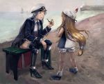2girls amibazh azur_lane beach bench blonde_hair bloomers blurry boat boots charles_ausburne_(azur_lane) child closed_eyes crossed_arms depth_of_field enterprise_(azur_lane) faux_traditional_media gloves hat hat_feather high_heels horizon knee_boots lighthouse long_hair low-tied_long_hair multiple_girls necktie ocean peaked_cap pier pipe sailboat sailor_collar sailor_hat silver_hair sitting skirt sky sleeveless smile texture thigh-highs underwear uniform watercraft white_gloves