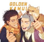 black_hair dog golden_kamuy grin hat hat_removed headwear_removed looking_at_viewer shaved_head shiba_inu shiraishi_yoshitake simple_background smile sugimoto_saichi t2_dtsg