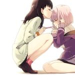 2girls backlighting bangs black_hair black_skirt blush closed_eyes commentary_request crying facing_another forehead_kiss from_side holding holding_eyewear jacket kiss long_hair long_sleeves multiple_girls niina_ryou orange_scrunchie pink-framed_eyewear pink_hair pink_legwear profile purple_jacket scrunchie shinjou_akane shoes short_hair sitting skirt sleeves_past_wrists socks squatting ssss.gridman sweater takarada_rikka tears white_sweater wrist_scrunchie yuri