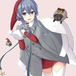 :d akahi242 bag blue_eyes blue_hair dress eyebrows_visible_through_hair fur-trimmed_sleeves fur_trim gloves gotland_(kantai_collection) grey_coat grey_gloves hair_bun hat holding holding_bag kantai_collection long_hair looking_at_viewer mole mole_under_eye open_mouth pink_background red_dress red_hat santa_hat sheep simple_background smile thigh-highs white_legwear