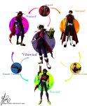 3boys alucard_(hellsing) black_hair blue_eyes braid cape clawed_gauntlets commentary commission crossover dirge_of_cerberus_final_fantasy_vii english_commentary fang final_fantasy final_fantasy_vii fusion gene_starwind glasses gloves gun headband hellsing hexafusion highres holding holding_gun holding_weapon male_focus multiple_boys necktie outlaw_star red_eyes robertfiddler scar short_hair single_braid smile vampire vincent_valentine weapon