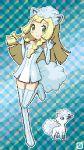 alolan_vulpix alolan_vulpix_(cosplay) animal_ears blonde_hair cosplay creatures_(company) fake_animal_ears fake_tail game_freak green_eyes highres homu_c lillie_(pokemon) nintendo pixel_art pokemon pokemon_(anime) pokemon_sm_(anime) tail thigh-highs
