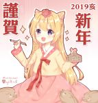 1girl 2019 :d animal bangs blonde_hair blush blush_stickers boar braid calligraphy_brush chinese_zodiac commentary_request ema eyebrows_visible_through_hair floral_print gradient gradient_background hair_between_eyes hairband hanbok happy_new_year highres holding holding_paintbrush korean_clothes light_(luxiao_deng) long_hair new_year open_mouth original paintbrush pink_background pink_hairband pink_skirt print_skirt revision rose_print side_braid single_braid skirt smile solo very_long_hair violet_eyes white_background year_of_the_pig