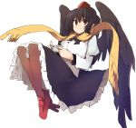 1girl bangs black_bow black_hair black_neckwear black_skirt black_wings bow bowtie breasts brown_legwear camera commentary_request eyebrows_visible_through_hair feathered_wings full_body geta hair_between_eyes hat holding holding_camera juliet_sleeves kamukamu_(ars) knees_up long_sleeves looking_at_viewer medium_breasts petticoat pointy_ears puffy_sleeves red_eyes red_footwear scarf shameimaru_aya shirt short_hair simple_background skirt smile solo tengu-geta tokin_hat touhou white_background white_shirt wings yellow_scarf