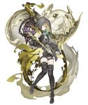 1girl arrow bare_shoulders belt birdcage boots bow_(weapon) brown_hair cage dark_persona detached_sleeves empty_eyes energy_arrow expressionless flat_chest full_body garter_straps green_eyes gretel_(sinoalice) half-nightmare hansel_(sinoalice) hood hood_up ji_no looking_at_viewer official_art pale_skin sinoalice solo thigh-highs thigh_boots transparent_background weapon