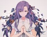 1girl animal bug butterfly closed_mouth collared_dress commentary dress fate/stay_night fate_(series) grey_background hair_ribbon hands_up insect interlocked_fingers long_hair matou_sakura nagu puffy_short_sleeves puffy_sleeves purple_hair red_ribbon ribbon short_sleeves smile solo violet_eyes white_dress