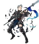 1boy armor armored_boots blue_hair boots cape fire_emblem fire_emblem_heroes fire_emblem_if full_body gloves green_eyes highres indesign injury male_focus nintendo official_art polearm silas_(fire_emblem_if) solo spear teeth torn_clothes transparent_background weapon