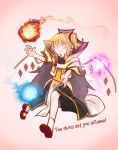 bare_legs blonde_hair cosplay defense_of_the_ancients english_text fireball flandre_scarlet glowing glowing_eyes highres invoker_(dota) invoker_(dota)_(cosplay) mary_janes no_pupils pointy_ears red_footwear shoes short_hair tagme touhou white_eyes wings yoruny
