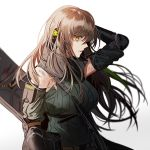 1girl arm_guards armband bangs blood breasts brown_hair bruise damaged elbow_pads girls_frontline gloves green_hair green_sweater hair_between_eyes headphones injury large_breasts long_hair looking_at_viewer m4a1_(girls_frontline) multicolored_hair ribbed_sweater si sidelocks silence_girl simple_background streaked_hair sweater torn_clothes white_background