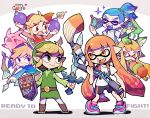 2girls 4boys arrow belt blonde_hair bomb boots bow_(weapon) fangs hat ink_tank_(splatoon) inkbrush_(splatoon) inkling link looking_at_another master_sword multiple_boys multiple_girls multiple_persona nintendo open_mouth pig pointy_ears shoes smile sneakers sparkle splat_bomb_(splatoon) splatoon splatoon_(series) splatoon_1 splattershot_(splatoon) standing super_smash_bros. super_smash_bros._ultimate sword teijiro tentacle_hair the_legend_of_zelda the_legend_of_zelda:_the_wind_waker toon_link weapon