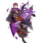 1boy belt book boots canas cape fire_emblem fire_emblem:_rekka_no_ken fire_emblem_heroes full_body highres injury male_focus monocle nintendo official_art open_mouth purple_hair solo torn_clothes transparent_background violet_eyes