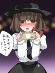 1girl blush bow brown_eyes brown_hair commentary_request fedora hair_bow hammer_(sunset_beach) hat looking_at_viewer money necktie open_mouth short_hair sideways_glance skirt smile solo touhou translation_request usami_renko yen