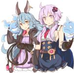 2girls ahoge bangs black_gloves breasts closed_mouth commentary_request cosplay costume_switch cropped_torso ferry_(granblue_fantasy) gloves granblue_fantasy hair_between_eyes hands_up holding hood hood_down lavender_eyes lavender_hair light_blue_hair long_hair long_sleeves looking_at_viewer multiple_girls no_legs sideboob simple_background sketch smile sweatdrop toromera vocaloid white_background yuzuki_yukari