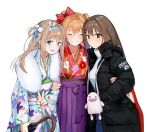 alternate_costume bow commentary_request creator_connection fur_collar girls_frontline group_hug hair_bow hair_ribbon hairband highres hug jacket japanese_clothes k-2_(girls_frontline) kimono rfb_(girls_frontline) ribbon shk955 south_korean_flag suomi_kp31_(girls_frontline) sweater umbrella v