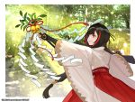 1girl bangs bell black_gloves black_hair brown_eyes character_request commentary_request elbow_gloves fingerless_gloves forest gloves hakama holding japanese_clothes jingle_bell kimono long_hair looking_away miko mole mole_under_eye multicolored_hair nature official_art outstretched_arm parted_lips red_hakama redhead ribbon-trimmed_hakama ribbon_trim short_kimono solo streaked_hair very_long_hair watermark white_kimono wixoss yuu_(higashi_no_penguin)