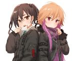 2girls :o bangs black_jacket blonde_hair blush brown_eyes brown_hair collared_shirt commentary_request drawstring eyebrows_visible_through_hair fur-trimmed_jacket fur_trim hair_between_eyes hand_up head_tilt highres hood hood_down hooded_jacket idolmaster idolmaster_cinderella_girls jacket long_hair long_sleeves looking_at_viewer mask_pull mole mole_under_eye multicolored_hair multiple_girls ninomiya_asuka open_mouth purple_hair purple_scarf scarf scarf_pull senbei_no_kakera sharp_teeth shirt side-by-side sidelocks simple_background sketch sunazuka_akira surgical_mask teeth twintails two-tone_hair upper_body violet_eyes wavy_hair white_background white_shirt