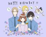 3boys 3girls bangs birthday black_eyes black_hair blonde_hair blue_background blue_neckwear blue_shirt blush brown_hair character_request chibi collared_shirt commentary_request dated dress_shirt english_text everyone eyebrows_visible_through_hair flower glasses green_eyes hair_between_eyes head_wreath holding holding_wand long_sleeves looking_at_viewer medium_hair multiple_boys multiple_girls necktie one_eye_closed oota_(tanakeda) parted_hair purple_shirt saionji_(tanakeda) shirt short_hair simple_background star sunflower sweatdrop tanaka-kun_wa_itsumo_kedaruge tanaka_(tanakeda) uda_nozomi wand