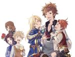 5boys aglovale_(granblue_fantasy) black_hair blonde_hair bouquet candy child crying doctor_(granblue_fantasy) flower food gran_(granblue_fantasy) granblue_fantasy jewelry lancelot_(granblue_fantasy) lollipop long_hair looking_down maji_(eau-fumeuse0207) multiple_boys overalls percival_(granblue_fantasy) proposal redhead ring ring_box shorts siegfried_(granblue_fantasy) simple_background vane_(granblue_fantasy) yaoi younger