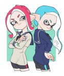 2girls act_(a_moso) bike_shorts black_neckwear blue_hair blue_sailor_collar blue_shirt closed_mouth cowboy_shot cropped_legs crossed_arms domino_mask grey_eyes hand_on_hip inkling long_hair long_sleeves looking_at_viewer mask multiple_girls neckerchief octarian octoling pointy_ears redhead sailor_collar school_uniform serafuku shirt smile splatoon splatoon_(series) splatoon_2 suction_cups tentacle_hair v-shaped_eyebrows