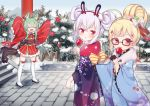 3girls :o akashi_(azur_lane) animal_ear_fluff animal_ears arms_up azur_lane bangs bell black_footwear black_gloves blonde_hair blue_kimono blue_sky bow brown-framed_eyewear candy_apple cat_ears closed_eyes commentary_request day double_bun eldridge_(azur_lane) eyebrows_visible_through_hair facial_mark floral_print flower food frilled_kimono frills fur_collar glasses gloves green_hair hair_bell hair_between_eyes hair_bow hair_bun hair_ornament hairband half_gloves holding holding_food japanese_clothes jingle_bell kimono koko_ne_(user_fpm6842) laffey_(azur_lane) licking long_sleeves looking_at_viewer looking_to_the_side multiple_girls obi open_mouth outdoors parted_lips pink_flower print_kimono rabbit_ears red_bow red_eyes red_flower red_hairband red_kimono ribbon-trimmed_legwear ribbon_trim sash short_kimono sidelocks silver_hair sky sleeves_past_fingers sleeves_past_wrists stairs stone_stairs thigh-highs tongue tongue_out v-shaped_eyebrows white_bow white_legwear wide_sleeves zouri
