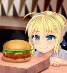 1girl artoria_pendragon_(all) blue_eyes blush braid fate/stay_night fate_(series) food french_braid hair_between_eyes hamburger heart heart-shaped_pupils highres saber smile solo symbol-shaped_pupils the_only_shoe