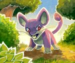 blue_sky brown_eyes bush creature creatures_(company) day full_body game_freak gen_1_pokemon grass mouse nature nintendo no_humans outdoors pokemon pokemon_(creature) rattata serious sky solo standing teeth thumpleweed tree