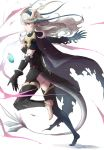 1girl barefoot black_gloves black_legwear cape crystal dragon_horns dragon_tail female_my_unit_(fire_emblem_if) fire_emblem fire_emblem_if gloves horns long_hair my_unit_(fire_emblem_if) nintendo pointy_ears red_eyes robaco tail tattered_cape transformation