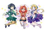 3girls black_hair blonde_hair blue_eyes boots chibi dress festenia_muse green_eyes hand_holding holding jacket jumping katia_grineal long_hair melua_melna_meia multiple_girls orange_eyes ponytail redhead shirakawa_(whitemist) short_hair skirt sleeveless smile super_robot_wars super_robot_wars_judgement super_robot_wars_og_moon_dwellers super_robot_wars_original_generation thigh-highs thigh_boots