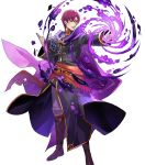 1boy belt book boots canas cape fire_emblem fire_emblem:_rekka_no_ken fire_emblem_heroes full_body highres male_focus monocle nintendo official_art open_mouth purple_hair solo teeth tobi_(kotetsu) transparent_background violet_eyes
