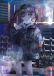 1girl blush brown_hair city cityscape collared_shirt expressionless face_mask green_neckwear highres hood hoodie idolmaster idolmaster_cinderella_girls koume_5656 mask mole mole_under_eye morning necktie parka rising_sun shirt skirt solo sparkle star sunazuka_akira sunburst surgical_mask twintails