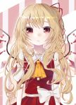 1girl ascot bangs blonde_hair blush bow closed_mouth commentary_request crystal eringi_(rmrafrn) eyebrows_visible_through_hair flandre_scarlet hair_ribbon long_hair looking_at_viewer messy_hair orange_neckwear pleated_skirt puffy_short_sleeves puffy_sleeves red_eyes red_ribbon red_skirt red_vest ribbon shirt short_sleeves skirt skirt_set solo sweat touhou very_long_hair vest white_bow white_shirt wings