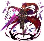 1girl absurdly_long_hair armored_corset aura blue_fire breasts brown_hair cape covered_navel crown dark_aura dark_power eyebrows_visible_through_hair feather_hair fire floating floating_object floating_rock gauntlets greaves hand_on_own_chest high_heels highres inayama ingrid_(sennen_sensou_aigis) large_breasts long_hair looking_at_viewer magic official_art pelvic_curtain ponytail rubble sennen_sensou_aigis sword torn_cape torn_clothes transparent_background unitard very_long_hair violet_eyes waist_cape weapon