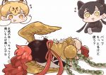1koma 3girls animal_ears ass bird_tail bird_wings black_gloves black_hair black_leopard_(kemono_friends) black_shirt blonde_hair blush_stickers brown_hair chibi comic crossover extra_ears eyebrows_visible_through_hair feathered_wings flying_sweatdrops furrowed_eyebrows gloves head_wings hi_no_tori hi_no_tori_(kemono_friends) holding kemono_friends leopard_(kemono_friends) leopard_ears long_hair looking_at_another lying multicolored_hair multiple_girls neck_ribbon on_side open_mouth orange_eyes panties personification ponytail red_footwear red_ribbon redhead ribbon shirt shoe_soles shoes short_sleeves skirt smile sweater_vest tanaka_kusao translation_request trembling twintails two-tone_hair underwear white_hair white_panties wings yellow_eyes yellow_wings