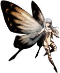 1girl aerie_(bravely_default) artist_request bare_shoulders black_gloves bravely_default:_flying_fairy bravely_default_(series) dress fairy fairy_wings gloves long_hair outstretched_arms pointy_ears short_dress silver_hair smile solo source_request strapless strapless_dress thigh_strap white_dress wings