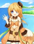1girl :d bangs bare_shoulders belt belt_buckle blonde_hair blue_eyes blue_sky blush brown_belt brown_dress brown_hat brown_jacket buckle clouds day dress eyebrows_visible_through_hair fox_tail frilled_dress frills hair_over_one_eye hand_up hat horizon jacket long_hair long_sleeves mini_hat ocean off_shoulder open_clothes open_jacket open_mouth original outdoors sky sleeveless sleeveless_dress sleeves_past_wrists smile solo standing tail tilted_headwear wide_sleeves yuuhagi_(amaretto-no-natsu)