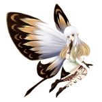 1girl aerie_(bravely_default) bare_shoulders black_gloves bravely_default:_flying_fairy bravely_default_(series) brown_eyes dress exceru_karina fairy fairy_wings finger_to_mouth gloves gradient_hair long_hair multicolored_hair pointy_ears short_dress shushing simple_background smile solo strapless strapless_dress thigh_strap white_background white_dress white_hair wings
