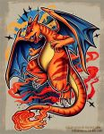 charizard claws commentary creature creatures_(company) deviantart_username english_commentary fire full_body game_freak gen_1_pokemon nintendo no_humans pokemon pokemon_(creature) retkikosmos striped tail watermark web_address wings