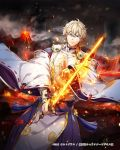 1boy black_cloud blonde_hair blue_eyes clouds copyright_request dated detached_sleeves flaming_sword gabiran grey_sky hand_up holding holding_sword holding_weapon magatama magic male_focus molten_rock official_art outdoors serious smoke standing sword tassel volcano weapon wide_sleeves