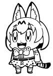 1girl :3 animal_ear_fluff animal_ears bangs bkub bow bowtie commentary elbow_gloves extra_ears eyebrows_visible_through_hair fangs full_body gloves greyscale highres kemono_friends monochrome open_mouth print_gloves print_legwear print_neckwear print_skirt serval_(kemono_friends) serval_ears serval_print serval_tail shirt short_hair simple_background skirt sleeveless sleeveless_shirt smile solo striped_tail tail thigh-highs white_background