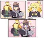 1girl animal_ears bandanna beard bell blonde_hair blush blush_stickers bodysuit comic dog_ears dog_girl doubutsu_no_mori english_text facial_hair furry hair_ornament holding karbuitt metal_gear_(series) metal_gear_solid metal_gear_solid_2 nintendo shizue_(doubutsu_no_mori) short_hair skirt smile sneaking_suit solid_snake super_smash_bros. super_smash_bros._ultimate tail tears topknot