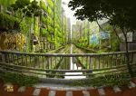 air_conditioner artist_name canal commentary_request day fantasy fisheye graffiti grass grey_sky huge_filesize moss no_humans original outdoors overgrown plant post-apocalypse railing real_world_location reflection ruins scenery tokyo_(city) tokyogenso tree water watermark