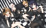 4girls :d :o arm_up bangs bare_shoulders black_dress black_flower black_footwear black_gloves black_rose black_umbrella blonde_hair blue_eyes blue_hair blush breasts brown_hair brown_legwear butterfly_hair_ornament chair checkered checkered_floor closed_umbrella collarbone commentary_request dress dutch_angle elbow_gloves etna_(kuzuyu) eyebrows_visible_through_hair fang flower gloves green_eyes hair_between_eyes hair_flower hair_ornament hairband half_gloves haru_(komori_kuzuya) high_heels komori_kuzuyu lace lace_gloves large_breasts long_hair multiple_girls nao_(kuzuya) on_chair open_mouth original pantyhose parted_lips puffy_short_sleeves puffy_sleeves red_eyes rivier_(kuzuyu) rose see-through shoes short_dress short_sleeves silver_hair sitting sleeveless sleeveless_dress small_breasts smile striped thigh-highs umbrella vertical_stripes very_long_hair white_hairband