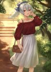 1girl bag baggy_clothes bangs blue_ribbon blush breasts casual collarbone day fate/grand_order fate_(series) floating_hair grey_hair hair_between_eyes hair_ribbon hand_up handbag highres large_breasts long_hair long_sleeves looking_at_viewer mashu_003 off-shoulder_shirt off_shoulder open_mouth outdoors ponytail red_eyes red_shirt ribbon shirt sidelocks skirt smile solo tomoe_gozen_(fate/grand_order) white_skirt wind