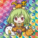 1girl :d bangs bikkuriman_(style) boots braid breasts candy_wrapper character_name checkerboard_cookie chibi cookie crown_braid dress eyebrows_visible_through_hair flower_knight_girl food ghost green_hair halloween_basket hat knee_boots long_hair long_sleeves open_mouth orange_dress orange_footwear pepo_(flower_knight_girl) puffy_short_sleeves puffy_sleeves pumpkin purple_hat purple_legwear red_eyes rinechun short_sleeves smile solo thigh-highs witch_hat