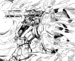 bazooka firing gundam gundam_0083 gundam_gp-02_physalis highres ishiyumi mecha monochrome no_humans over_shoulder shield smoke thrusters v-fin weapon weapon_over_shoulder