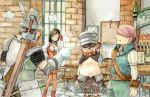 1girl adelbert_steiner armor black_choker black_hair bodysuit breasts choker cinna closed_mouth commentary_request deboo final_fantasy final_fantasy_ix frown garnet_til_alexandros_xvii gloves jewelry long_hair long_sleeves low-tied_long_hair marcus multiple_boys necklace orange_bodysuit red_gloves skin_tight standing sword traditional_media watercolor_(medium) weapon
