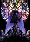 1girl black_hair cape choker covered_face crown detached_arm doll_joints dress expressionless feather_trim floating hands_clasped highres looking_at_viewer multicolored multicolored_eyes nun original own_hands_together praying short_hair stained_glass sword tsuki-shigure veil weapon window