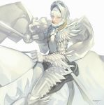 1boy armor berserk blue_eyes cape gauntlets griffith helmet holding holding_sword holding_weapon horse light_blue_eyes long_hair na_in-sung pauldrons rapier riding saddle scabbard sheath signature simple_background sitting solo strap sword vambraces weapon white_background white_cape white_hair
